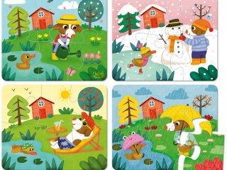 4 puzzle fából, Évszakok (Vilac, 2641, 4 x 6 db-os puzzle, 2-6 év)
