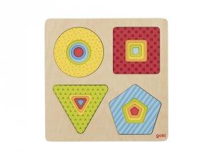 4 rétegű formaberakó, fa készségfejlesztő játék (Goki, 2-4 év)