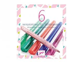 6 db csillámtoll édes színek, Djeco kreatív készlet - 8877 (6-99 év)
