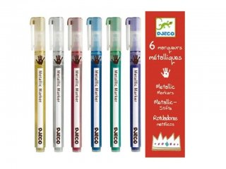 6 db metálfényű toll (Djeco, 8870, kreatív készlet, 6-99 év)