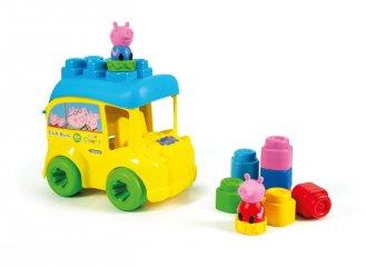 8 db-os puha építőkocka szett Peppa malac busz tárolódobozban, bébijáték (CLEM, 6 hó-3 év)