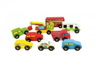 9 részes járműpark (Bigjigs, fa szerepjáték, 3-10 év)