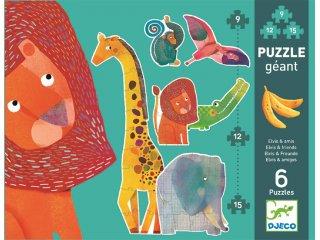 Óriás puzzle, Afrikai állatok (Djeco, 7146, vegyes darabszámú kirakó, 3-6 év)