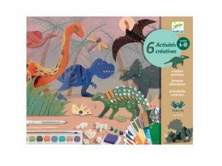 A dinók világa, Djeco kreatív készlet 6 technikával fiúknak - 9331 (6-10 év)