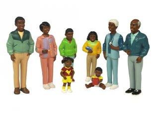 Afrikai család, 8 fős bábcsalád (miniland, szerepjáték, 3-9 év)