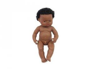 Afrikai fiú baba hajjal, 38 cm (miniland, baby doll african boy, babajáték, 3-8 év)