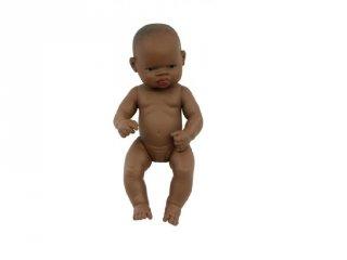 Afrikai lány baba haj nélkül, 32 cm (miniland, newborn baby doll african girl, babajáték, 3-8 év)