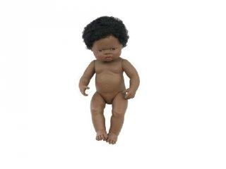 Afrikai lány baba hajjal, 38 cm (miniland, baby doll african girl, babajáték, 3-8 év)