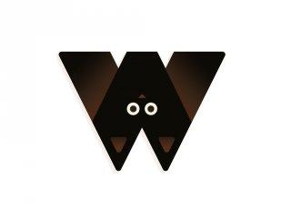 Állatdekor betű fából: W, Djeco szobadekoráció - 4982