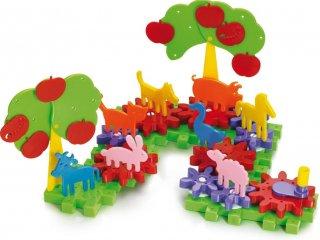 Állatfigurás farmépítő kreatív építőjáték (Quercetti georello farm, 60 db-os, 4-8 év)