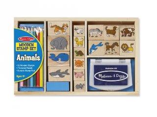 Állatok, kreatív nyomdakészlet ceruzákkal fából (MD, 3798)