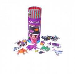 Állatok, mágneses puzzle (Purple Cow, párosító játék, 3-5 év)