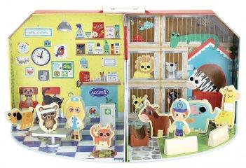 Állatorvosi klinika hordozható bőröndben, fa szerepjáték (VL, 3-6 év)