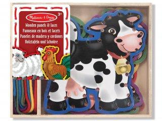 Állatos fa fűzős játék (3781, Melissa&Doug, ügyességi játék, 2-5 év)