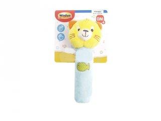 Állatos sípoló plüss csörgő, textil babajáték (többféle)