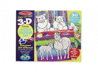 Állatos színező füzet 3 dimenziós szemüveggel (Melissa Doug, különleges kreatív játék, 3-8 év)