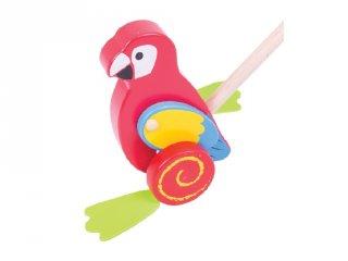 Állatos tologató, Papagáj (Bigjigs, fa mozgásfejlesztő bébijáték, 1-4 év)