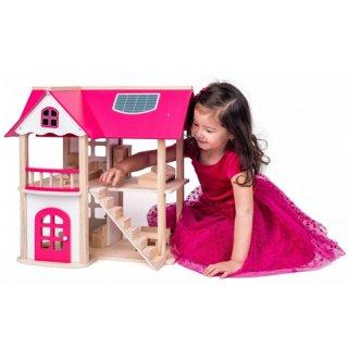 Anna Marie kétszintes babaház bútorokkal, fa szerepjáték (4-8 év)