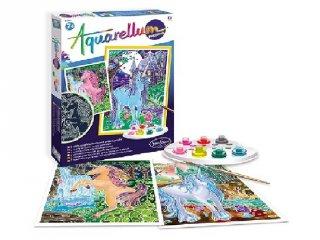 Aquarell nagy festőkészlet, Foszforeszkáló, Egyszarvú (Sentosphere, kreatív festőkészlet, 8-99 év)