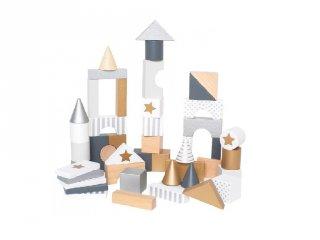 Arany-ezüst építőkockák, 47 db-os fa bébijáték (Jabadabado, 2-5 év)
