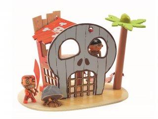 Arty Toys, Kalózsziget (Djeco, 6829, fa sziget kalózos szerepjátékhoz, 3-12 év)