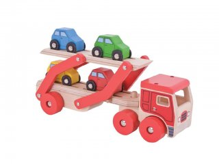 Autószállító kamion (Bigjigs, fa játékautó, 1-6 év)