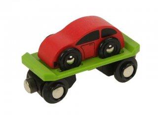 Autószállító vagon autóval (Bigjigs, vonatos fajáték, 2-10 év)