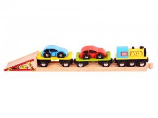 Autószállító vonat (Bigjigs, játék jármű, 2-10 év)