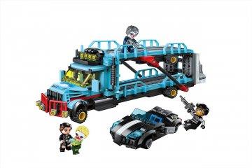 Autótolvaj tréler elkapása, Lego kompatibilis építőjáték készlet (QMAN, 1929, 6-12 év)