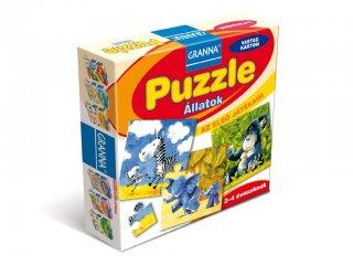 Az első játékaim, Puzzle Állatok (Granna, 4, 6, 9 és 12 db-os kirakók, 2-4 év)