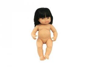 Ázsiai lány baba hajjal, 38 cm (miniland, baby doll asian girl, babajáték, 3-8 év)