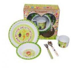 Baba étkészlet, zöld (Funky Garden, melamin konyhai eszköz, 6 hó-5 év)