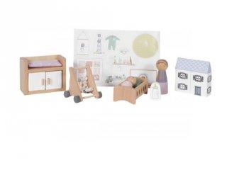 Babaszoba bútor szett, babaház kiegészítő, Little Dutch fa szerepjáték (4477, 3-7 év)