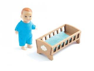 Baby Sacha Djeco babaszoba bútor kisbabával fából (7834)