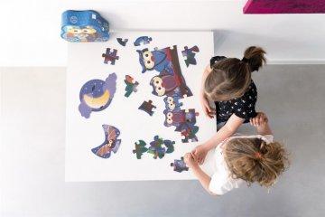 Bagoly család kétoldalas puzzle, 39 db-os kirakó (Scratch, 4-7 év)