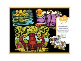 Bársony színező A szavanna állatai, Djeco kreatív képkészítő szett - 9622 (3-6 év)