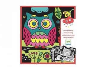 Bársony színező Éjszaka, Djeco kreatív képkészítő szett - 9096 (3-6 év)