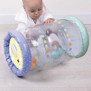 Bébi felfújható játszóhenger cuki barátok, mozgásfejlesztő babajáték (10 hó-2 év)