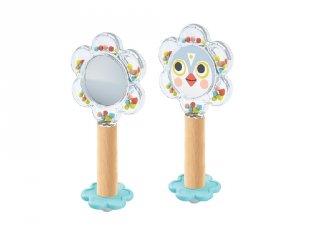 Bébicsörgő tükörrel BabyFlower, Djeco fa babajáték - 6118