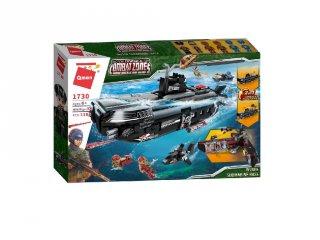 Betörés a tengeralattjáró bázisra, kinyitható 2 az 1-ben Lego kompatibilis építőjáték készlet (QMAN, 1730, 6-12 év)