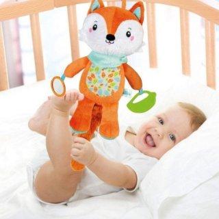 Boldog róka, plüss felfedező bébijáték, babakocsi játék (CLEM)
