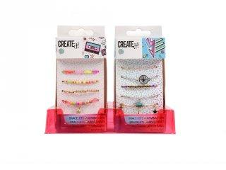 Canenco Create It! Karkötők színes gyöngyökkel Multi beads/galaxy, kreatív készlet (kétféle, 6-10)