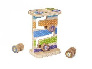 Cikk-cakk torony, fa készségfejlesztő babajáték (MD, 30125, 1-3 év)