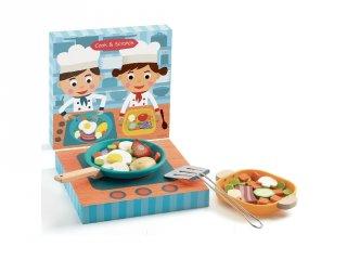 Cook & Scratch sütés-főzés, Djeco kreatív szerepjáték fából - 5502 (3-7 év)