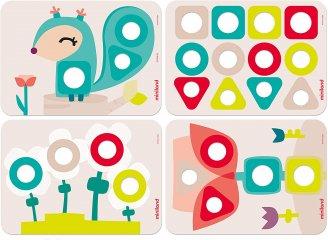 Csavarozós játék, 28 db-os Miniland ECO kreatív építőjáték (32155, 2-5 év)