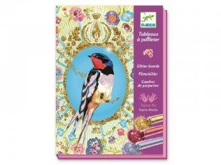 Csillámkép készítő, Csillogó madarak (Djeco, 9501, kreatív készlet, 7-13 év)