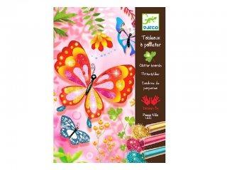 Csillámkép készítő, Csillogó pillangók (Djeco, 9503, kreatív készlet, 7-13 év)