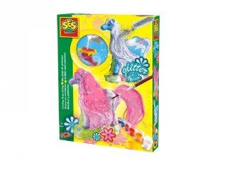 Csillogó lovacskák gipszkiöntő készlet, kreatív játék (3-6 év)