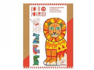 Csináld magad! Állati puzzle színezés, Djeco kreatív készlet - 7946