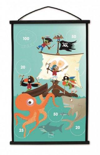 Darts kezdőkészlet Kalózok, ügyességi játék 38x60 cm (Scratch, 3-8 év)